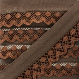 35 mm Lace Bias Binding - Brown x 1m