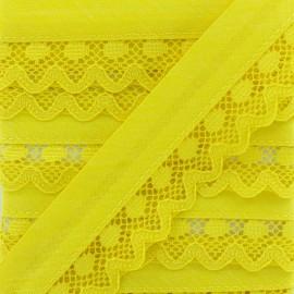35 mm Lace Bias Binding - Lemon Yellow x 1m