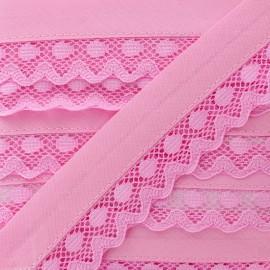 35 mm Lace Bias Binding - Candy Pink Aurora x 1m