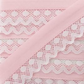 35 mm Lace Bias Binding - Powder Pink Aurora x 1m