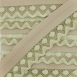 35 mm Lace Bias Binding - Light Taupe x 1m
