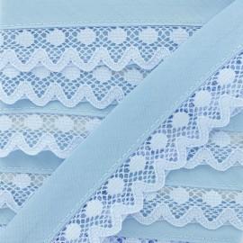 Biais Dentelle Aurora 35mm - Bleu Ciel x 1m