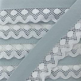 35 mm Lace Bias Binding - Grey Aurora x 1m