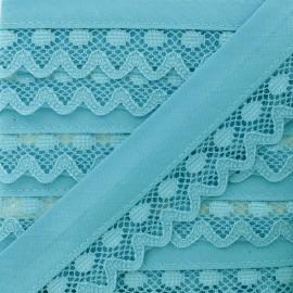 Biais Dentelle Aurora 35mm - Turquoise x 1m