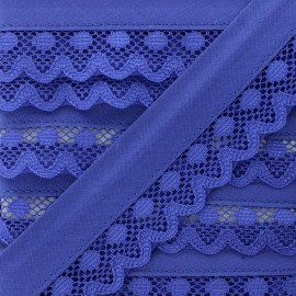 35 mm Lace Bias Binding - Royal Blue Aurora x 1m