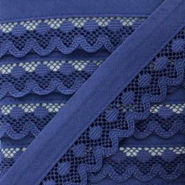 35 mm Lace Bias Binding - Navy Blue Aurora x 1m