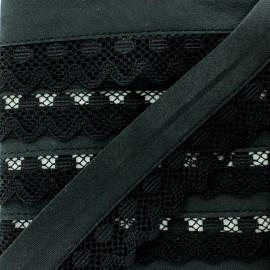 35 mm Lace Bias Binding - Black Aurora x 1m
