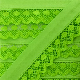 35 mm Lace Bias Binding - Anise Green x 1m