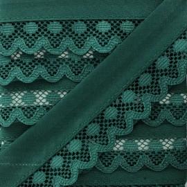 35 mm Lace Bias Binding - Pine Green x 1m