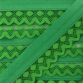 35 mm Lace Bias Binding - Grass Green x 1m
