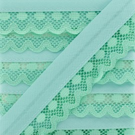 35 mm Lace Bias Binding - Water Green x 1m