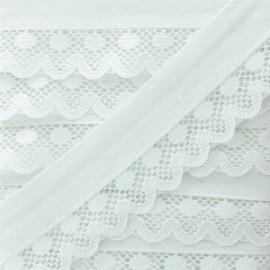 Biais Dentelle Aurora 35mm - Blanc x 1m