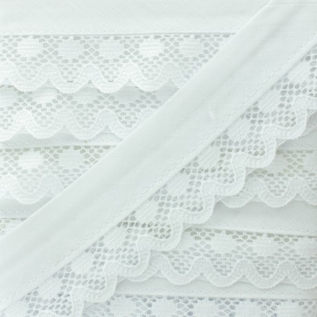 35 mm Lace Bias Binding - White x 1m
