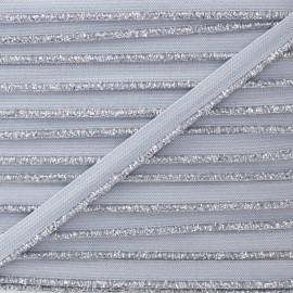 Galon Elastique Lurex Argent - Gris x 1m