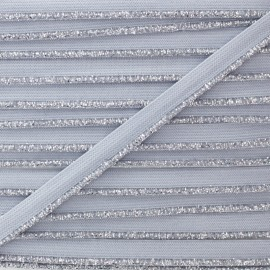 Silver Lurex Elastic Ribbon - Grey x 1m
