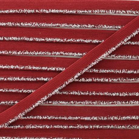 Galon Elastique Lurex Argent - Carmin x 1m