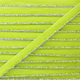 Galon Elastique Lurex Argent - Vert Anis x 1m