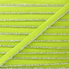 Silver Lurex Elastic Ribbon - Anise Green x 1m