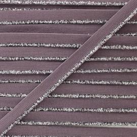 Silver Lurex Elastic Ribbon - Mauve x 1m