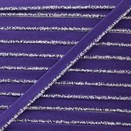 Silver Lurex Elastic Ribbon - Purple x 1m