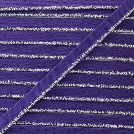 Silver Lurex Elastic Ribbon - Purple x 1m