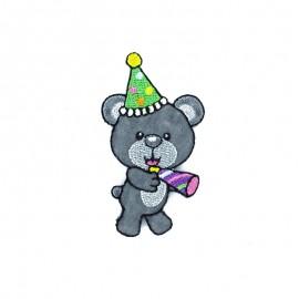 Festive Bear Cub Iron-On Patch - Grey