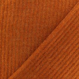 Tissu Maille légère côtelé - Rouille x 10cm