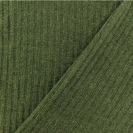 Tissu Maille légère côtelé - vert x 10cm