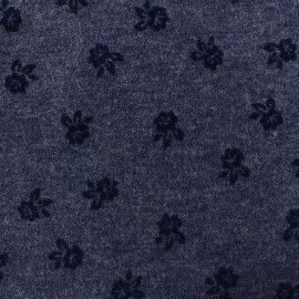 Tissu Lainage Roses - bleu x 10cm