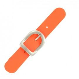Patte cuir orange fluo avec boucle