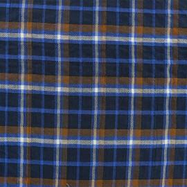 Tissu voile de coton carreaux - bleu x 10cm
