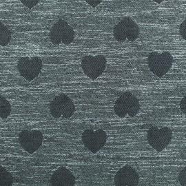 Tissu Jacquard lurex Coeur - gris x 10cm