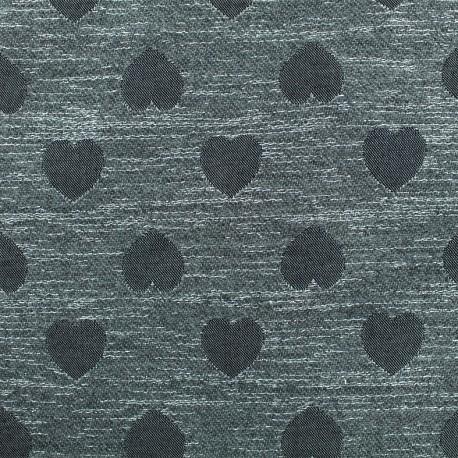 Lurex Jacquard fabric - Grey Heart x 10cm
