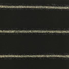 Tissu polyester lurex rayé - noir x 10cm