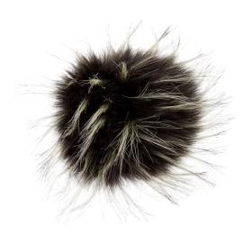 Round Faux Fur Pom Pom - Fluff XL Ebony