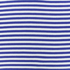 Striped Knitted Jersey fabric - Navy blue x 10 cm