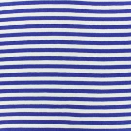 Tissu jersey tubulaire à rayure - marine x 10cm
