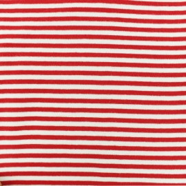 Tissu jersey tubulaire à rayure - rouge x 10cm