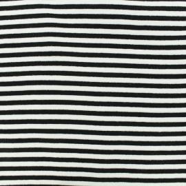 Tissu jersey tubulaire à rayure - noir x 10cm