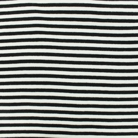 Striped Knitted Jersey fabric - Black x 10 cm
