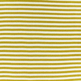 Striped Knitted Jersey fabric - mustard yellow x 10 cm