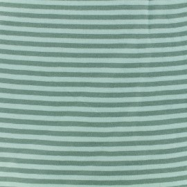 Striped Knitted Jersey fabric - Sauge/green x 10 cm