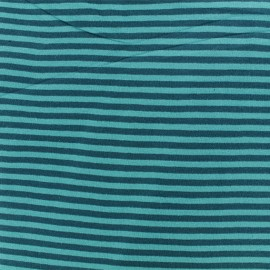 Striped Knitted Jersey fabric -Turquoise/Petrol blue x 10 cm
