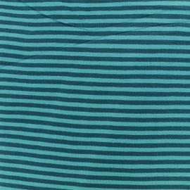 Tissu jersey tubulaire à rayure - Turquoise/Pétrole x 10cm