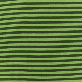 Tissu jersey tubulaire à rayure - vert x 10cm