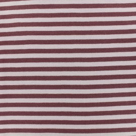 Striped Knitted Jersey fabric - Purple/mauve x 10 cm