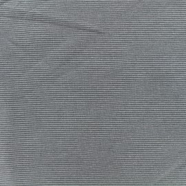 Tissu jersey tubulaire fines rayures - gris x 10cm