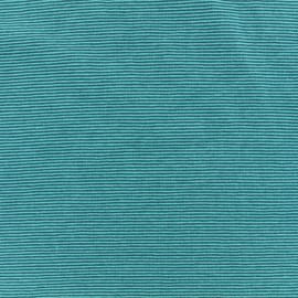 Tissu jersey tubulaire fines rayures - turquoise/pétrole x 10cm