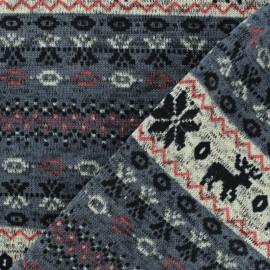 Tissu pull de noel jacquard - gris x 10cm
