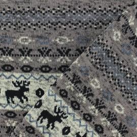 Tissu pull de noel jacquard - taupe x 10cm